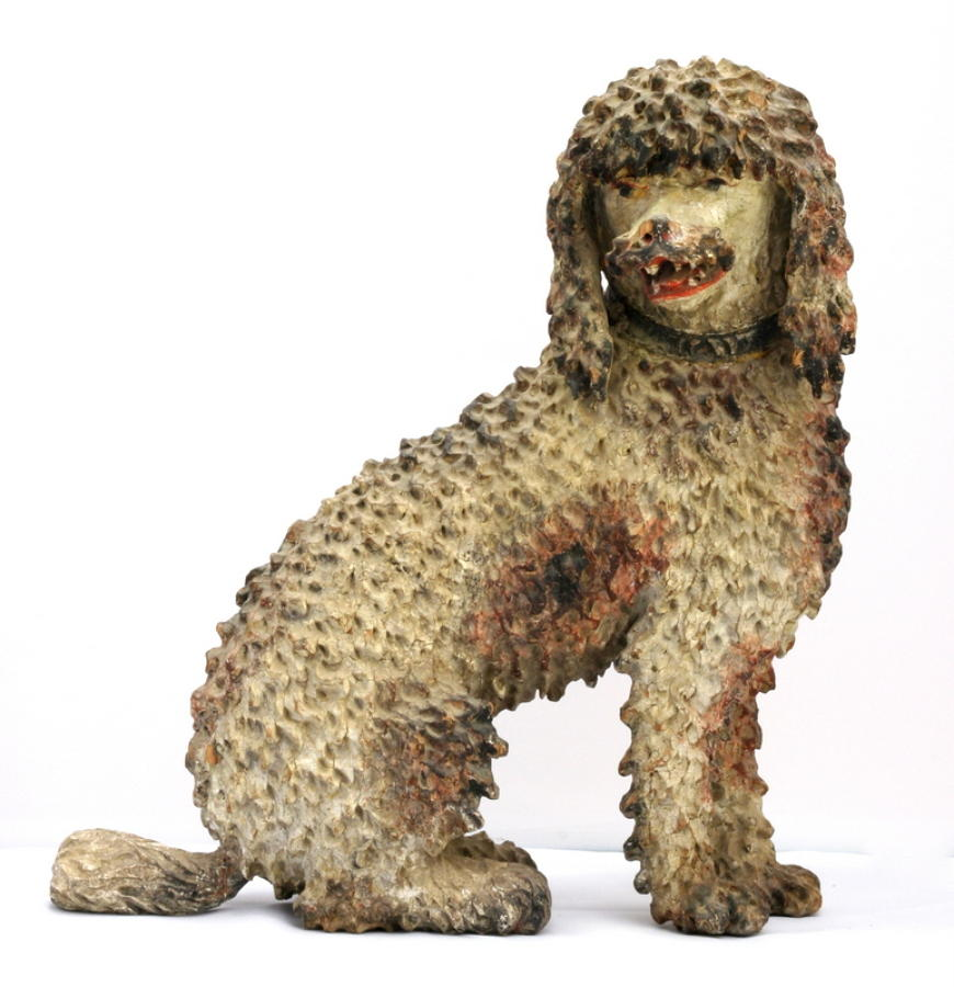 Carved wooden and painted late 18th Poodle.