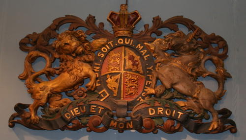 English carved wooden Victorian Royal coat of arms,armorial