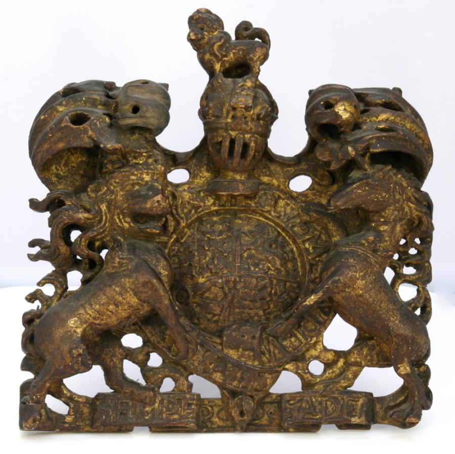 Queen Anne  Royal Coat of Arms  carved wooden and gilded.