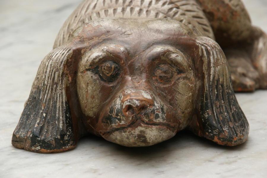 Antique victorian folk art Wooden painted dog 19th Century