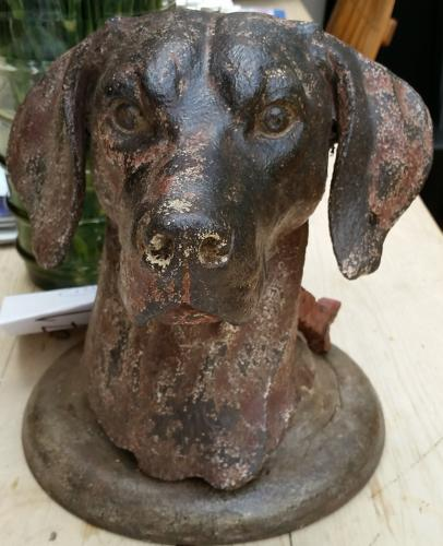 Cast Iron Dog Head Sculpture