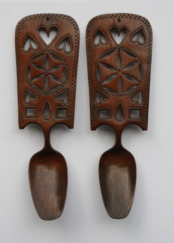 A pair of Welsh love Spoons 19th Century