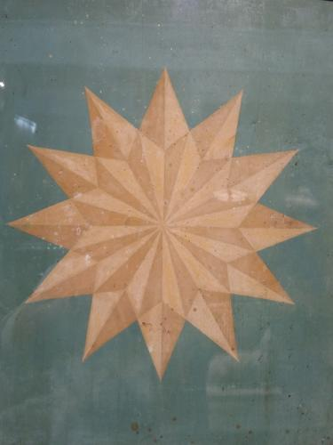 Regency Milk Paint on board of a Geometric Star, framed
