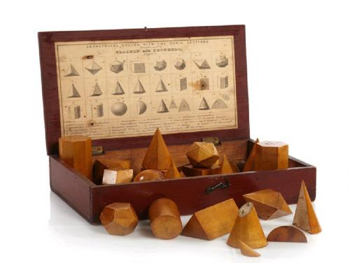 19th Century original complete Boxed set of Geometric solids c.1830
