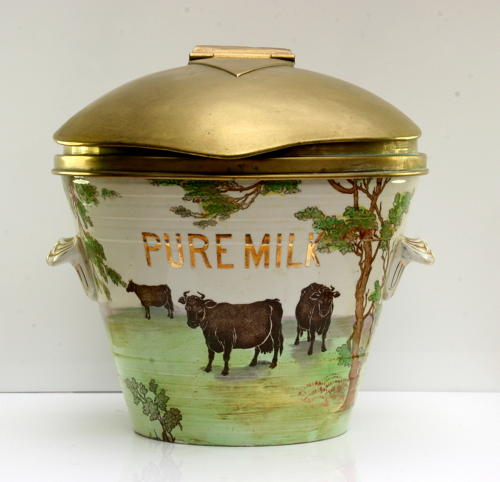 Large ceramic /pottery Pure Milk pale with original brass lid, kitchen