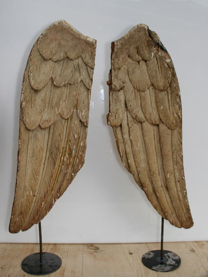A pair of carved wooden Angels wings early 19th century