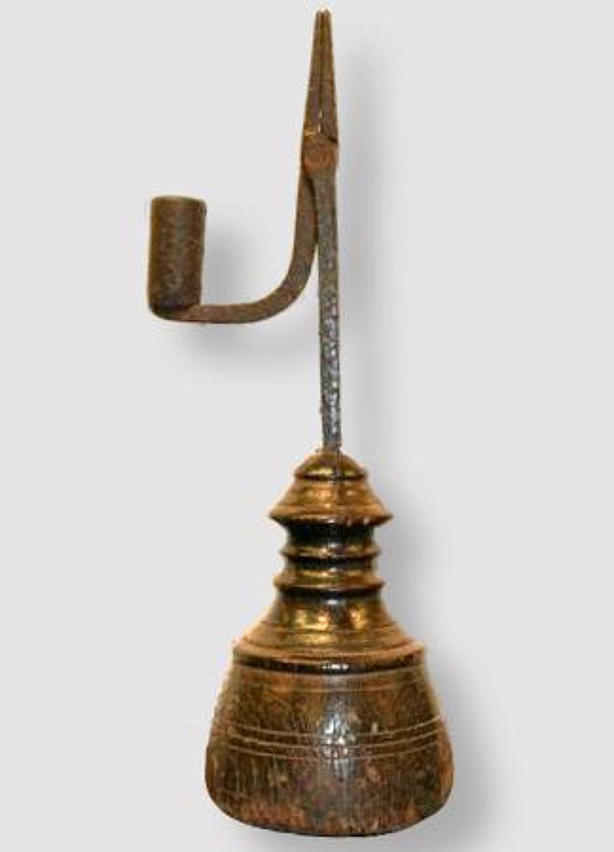 Sculptural standing Rush light, English c.1750.