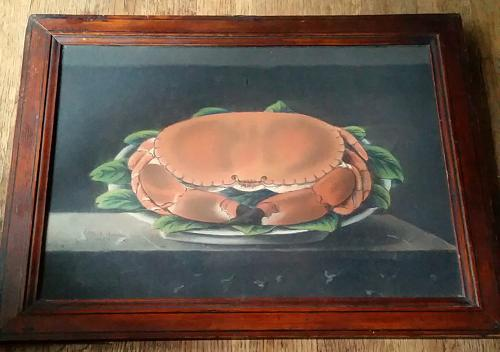 Naive crab pastel  painting 19th century