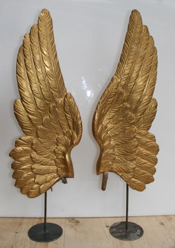 A Fine carved wooden and gilded pair of Angels wings 18th century