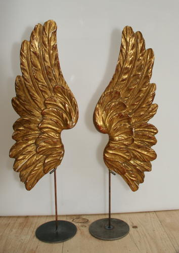 A fine small pair of carved wooden and gilded Angels wings 18th centur