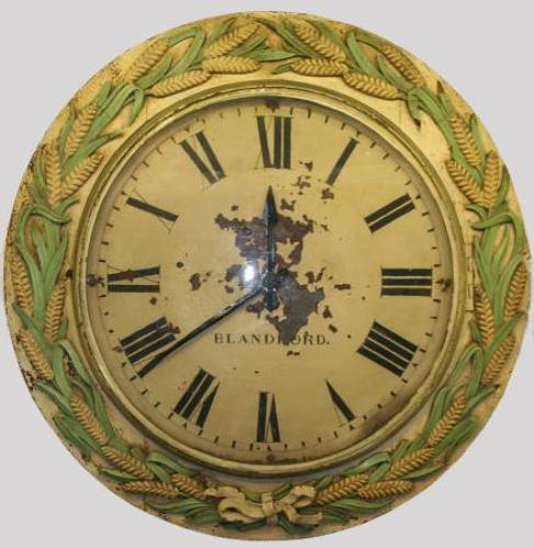 Large Bakery Clock, with Breadboard wheatsheaf border. early 20th cent