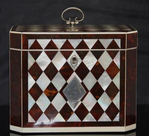 Harlequin Tea caddy English late 18th century