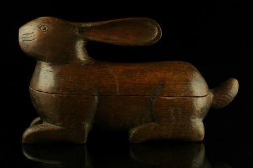 Carved wooden Hare Candle Box c.1900