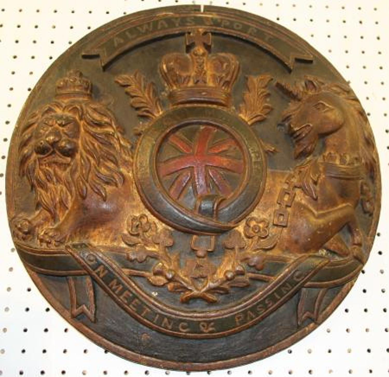 Maritime carved wooden early 19th century armorial