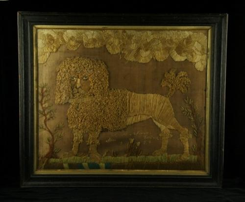 Naive lion silk and wool picture early 19th century
