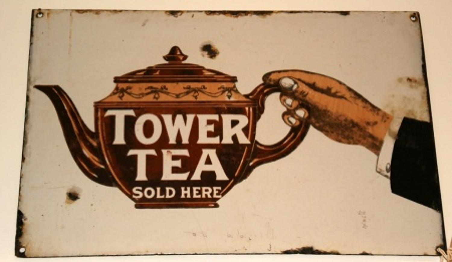 Tower tea advertising enamel sign, early 20th century