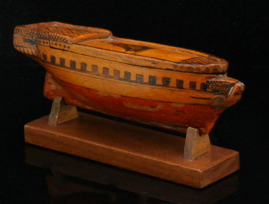 Treen Ship snuff box 19th century on a stand