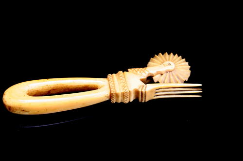 Marine Ivory Pastry fork and jigger.