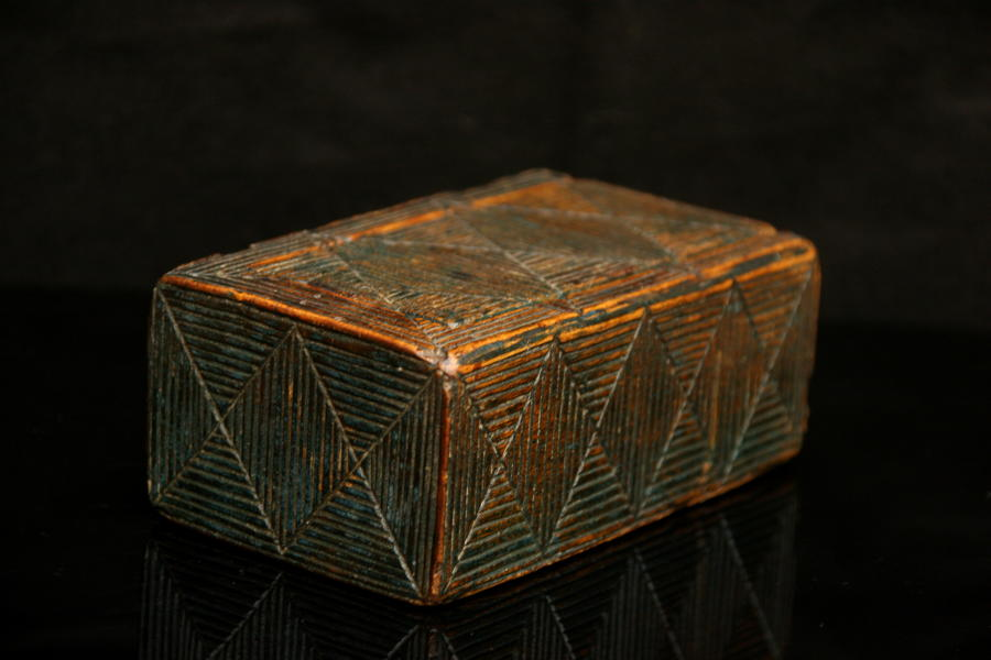 19th Century Treen Painted box with geometric carving .