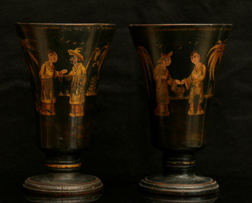A Fine Pair of Treen Spill Vases with chinoiserie Decoration