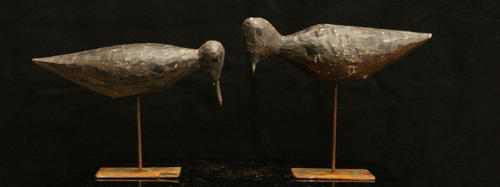2x French wood decoy shore birds c.1920