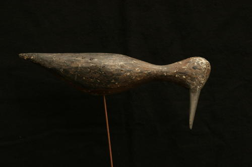 Primitive carved wood and painted French decoy shore bird