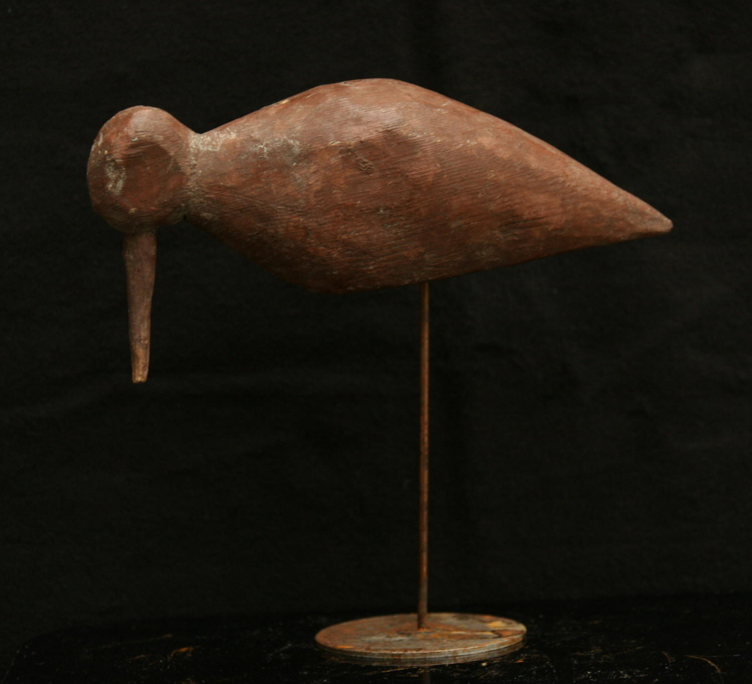 Primitive carved wood and painted French decoy shore bird c.1920