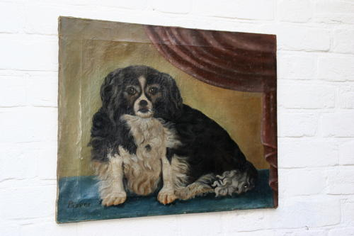 Primitive  Dog  oil  painting 19th century