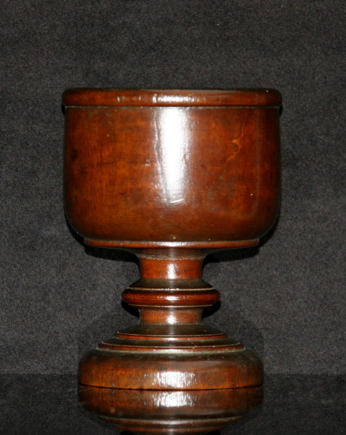 English Treen salt early 19th century walnut