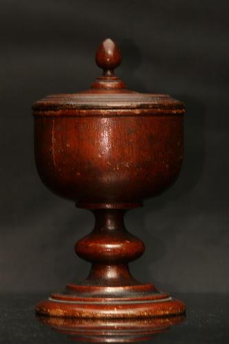 English 19th century Treen lidded salt or spice pot