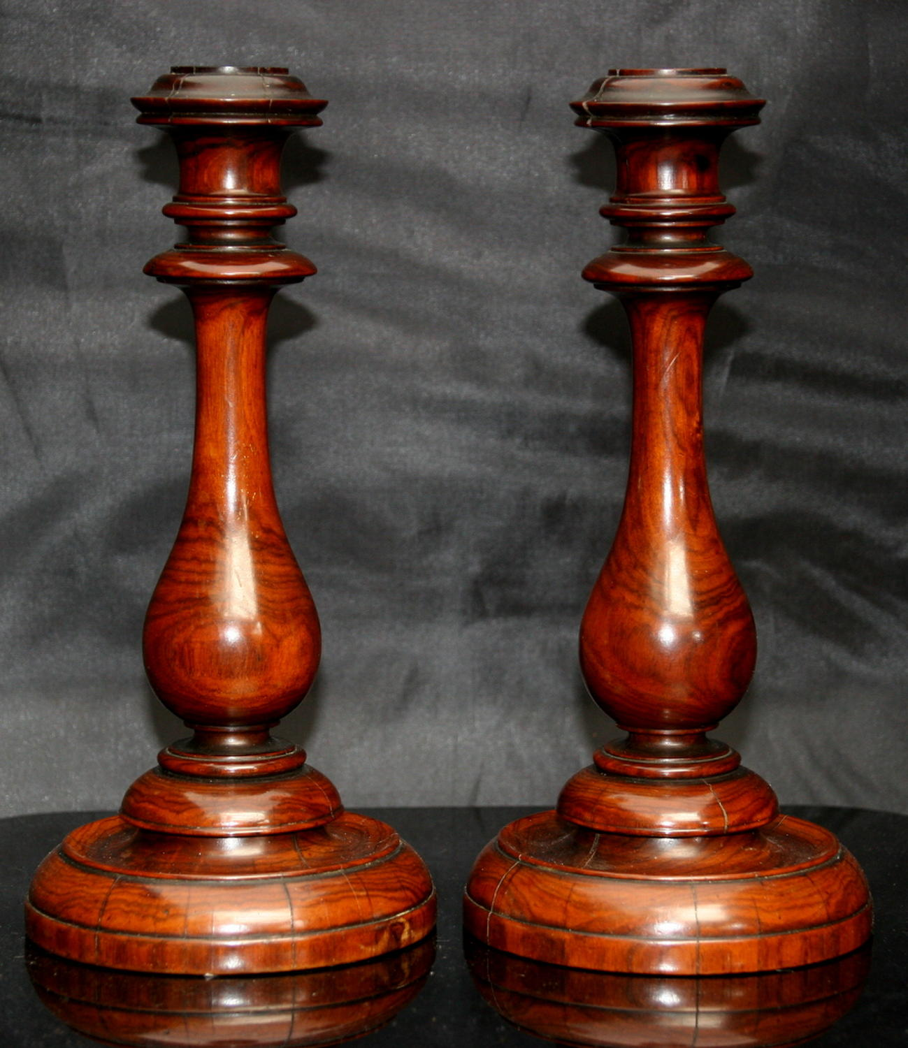 A fine pair of English Treen  Candlesticks