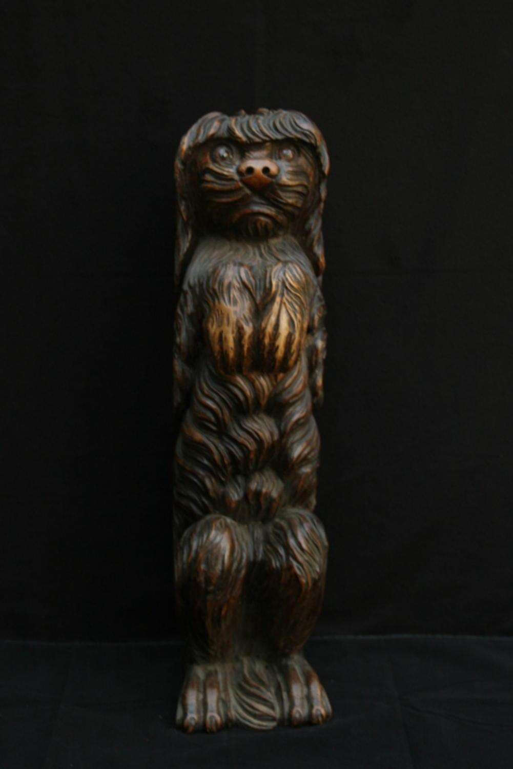 Life sized carved wooden dog black forest 19th century.
