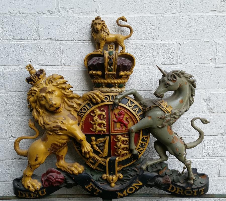 Carved wooden and painted Royal coat of Arms / Armorial late  19th cen