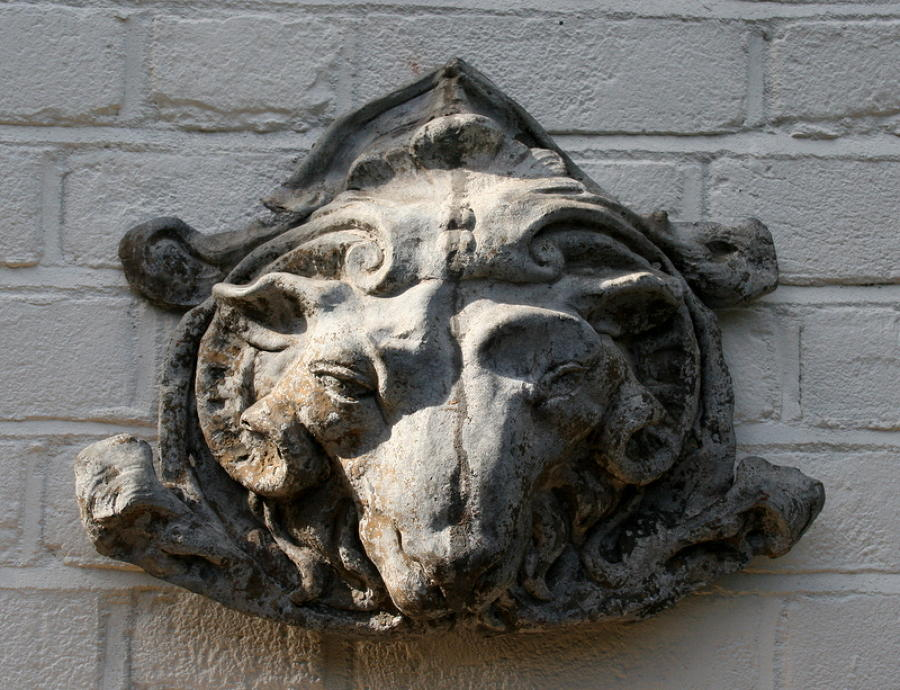 Goat head architectural element , 18th Century, Lead