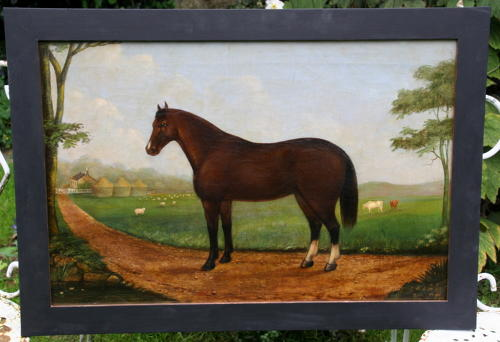 Naive Horse and Farmstead oil on Canvas painting 1879