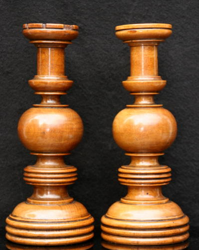 A handsome Pair of Treen Candlesticks 19th century