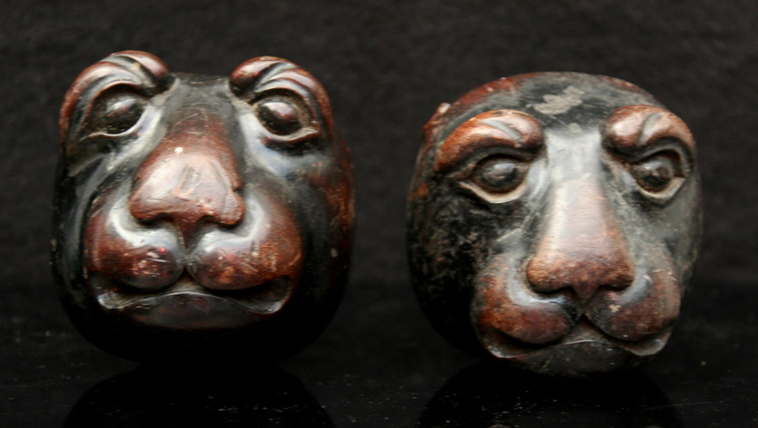 Two Unusual Carved wooden Animal Heads