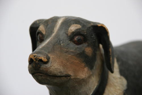 Carved wooden and painted Folk art Dog. c.1920/30s English.