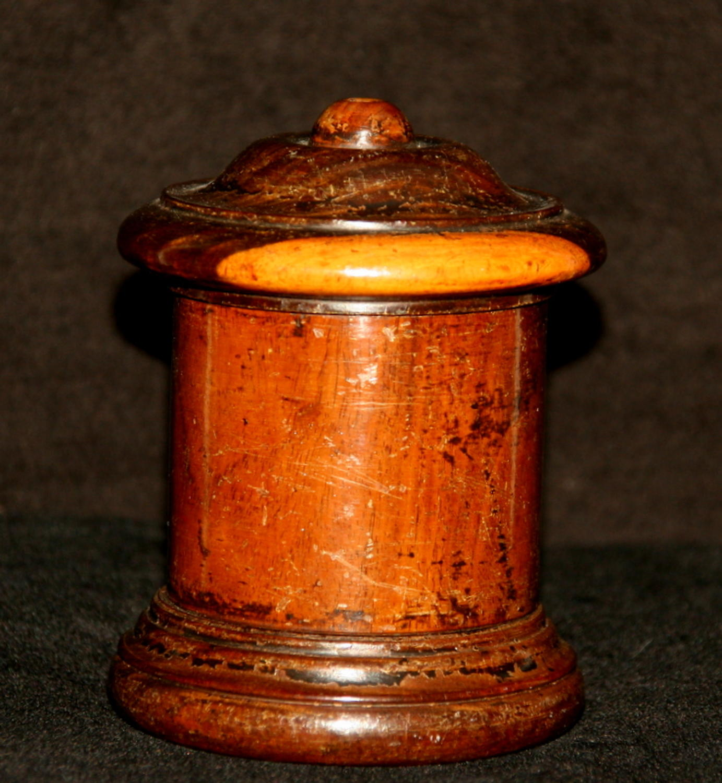 Treen String Box, Lignum Vitae, 19th Century