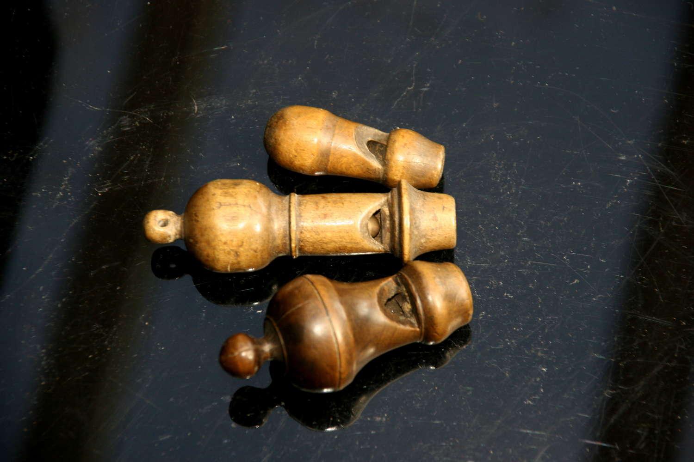 3x Treen English 18th century Whistles.
