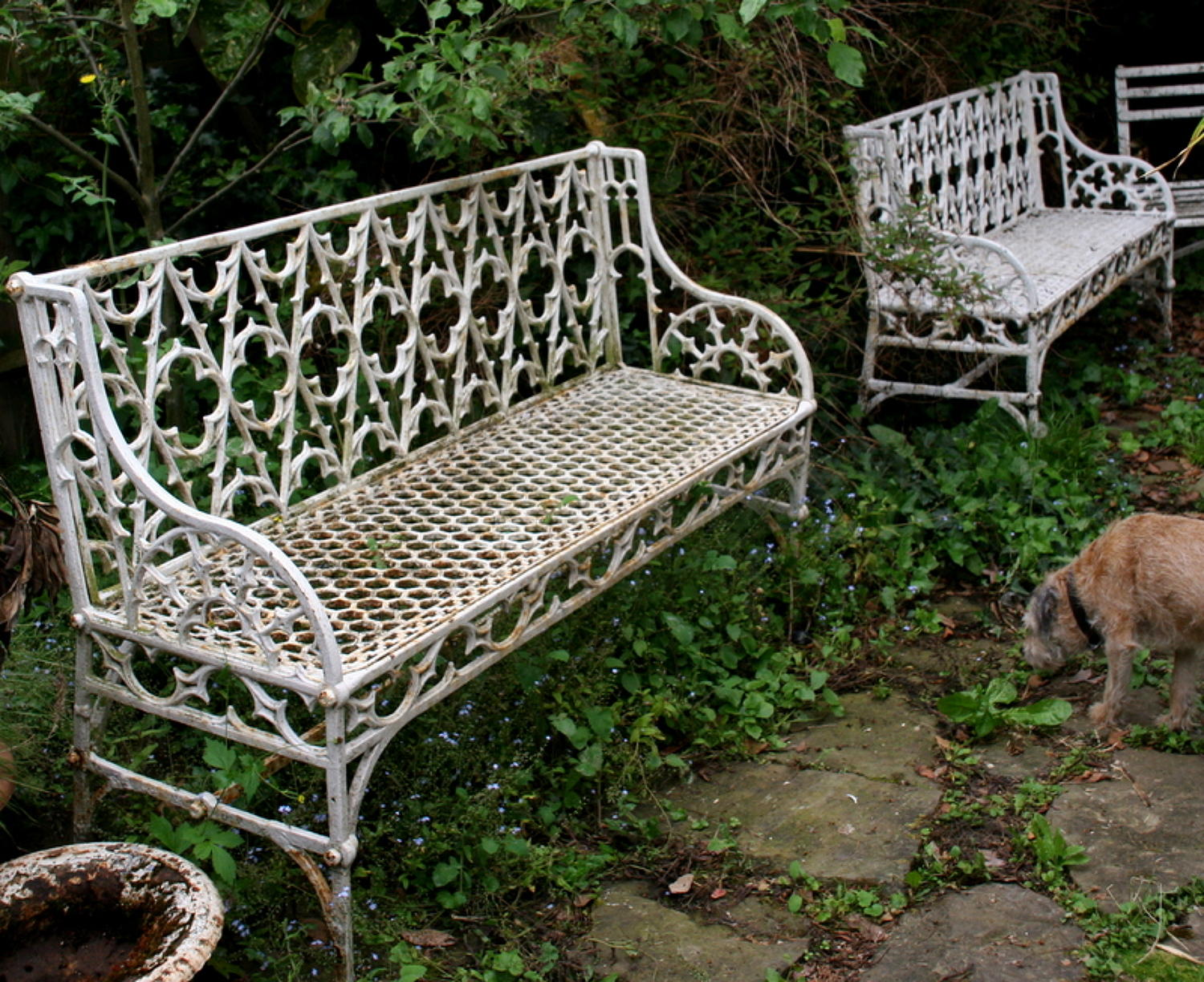 A Pair of Cast iron Garden Benches 19th century