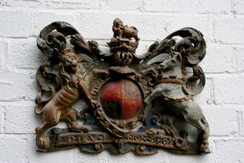 Carved wooden Royal Armorial