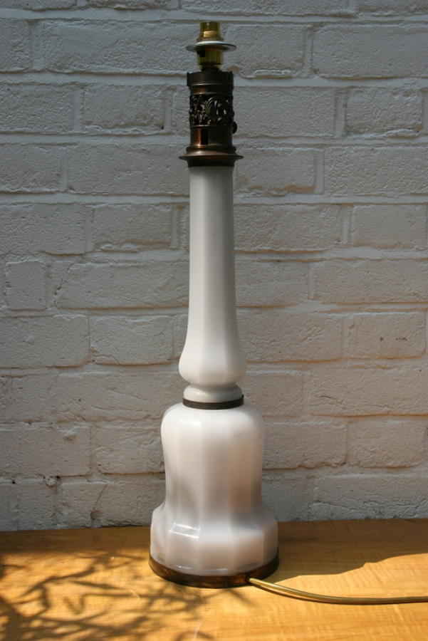 Smoky white / vaseline  Glass Lamp Base