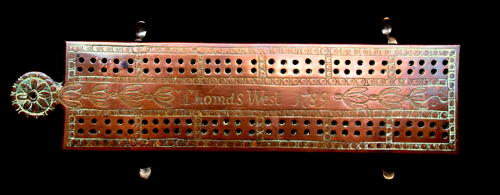 Copper Cribbage Board dated 1789