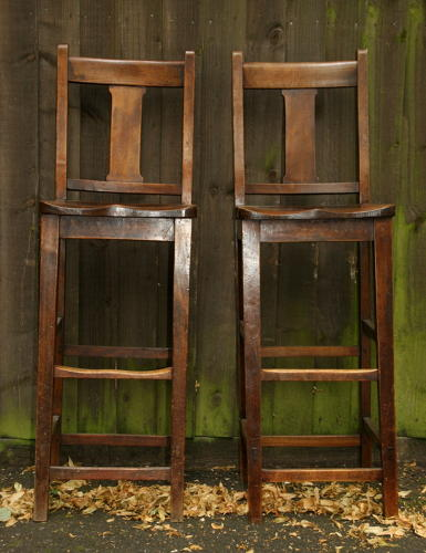 Pair of high backed stools