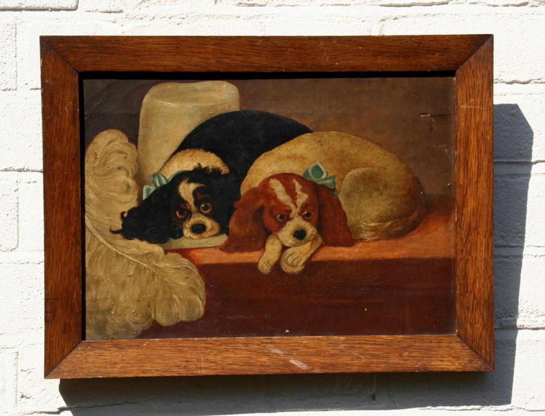 Cavalier King Charles Spaniel naive oil painting