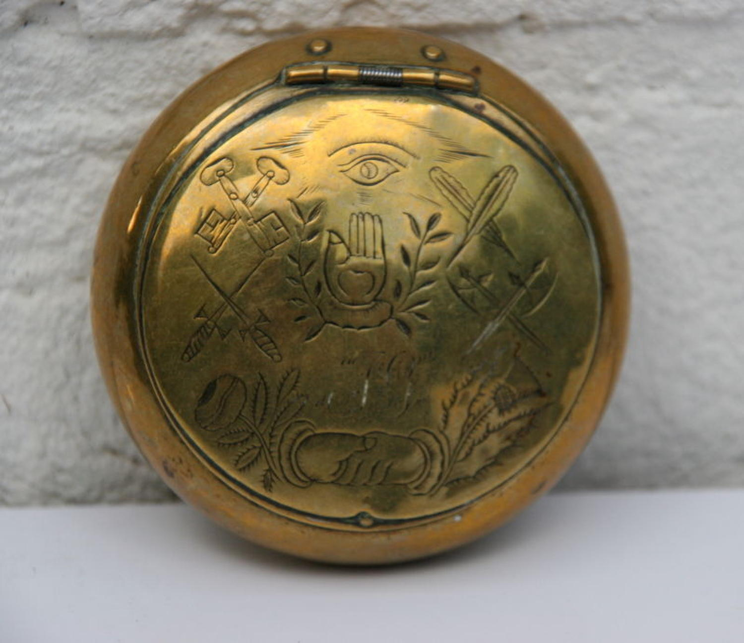 Masonic Brass snuff Box