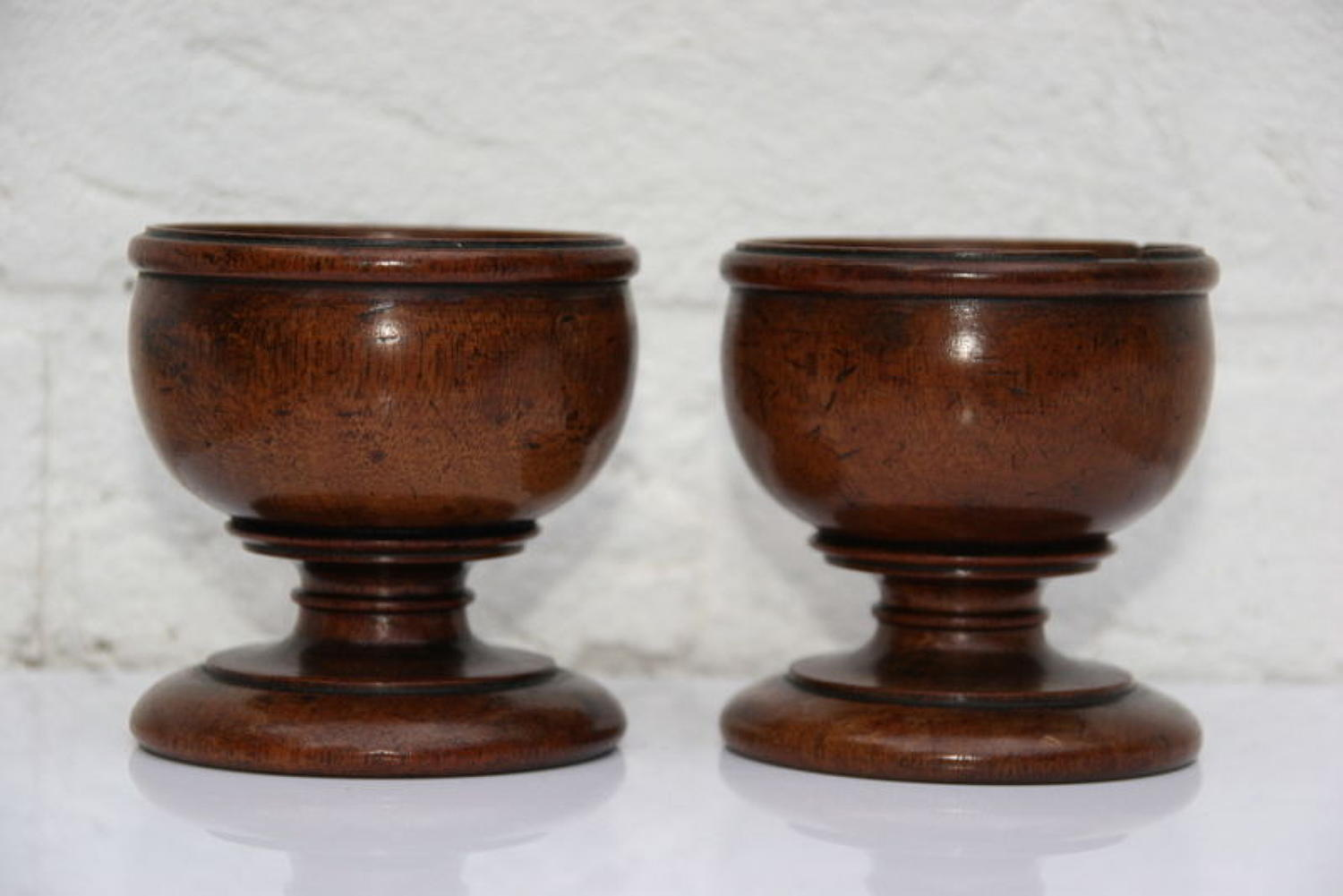 A pair of Treen salts 19th century