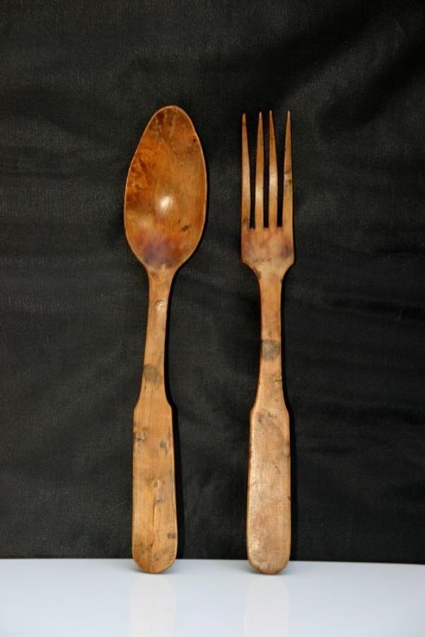 A Pair of Treen salad Servers 19th century