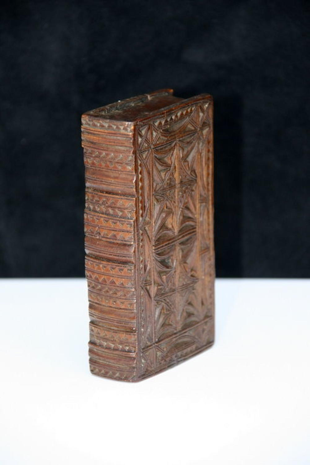 Treen 18th century Chip carved book box snuff box